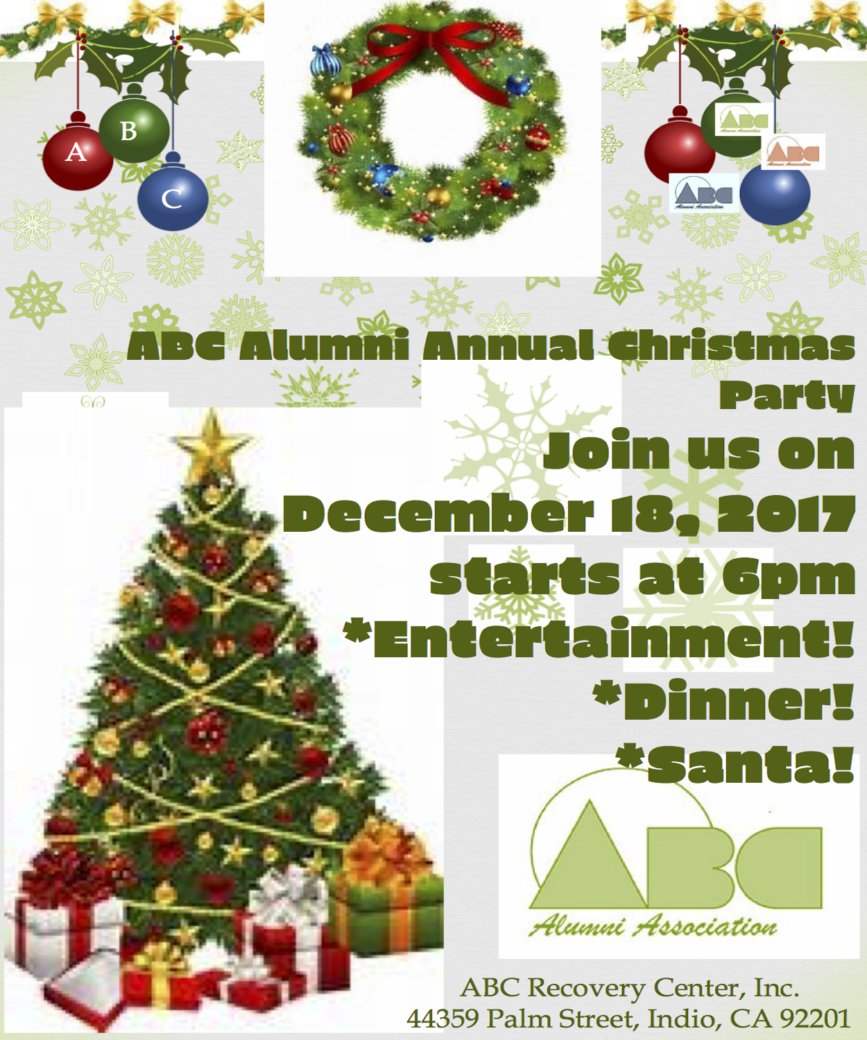 alumni plan to join us on monday december 18th for our abc alumni christmas party santa will be here enjoy delicious holiday food and entertainment
